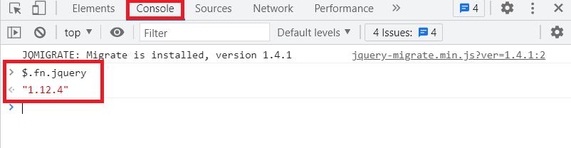 ConsoleでjQueryのバージョンを表示