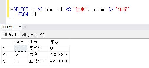 SQL ServerのAS句の実行確認